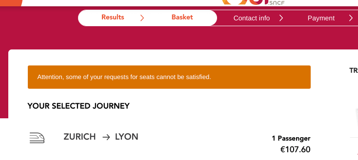 OUI.sncf error message: Some of your requests cannot be satisfied.
